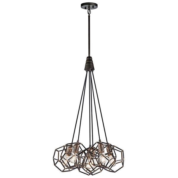 Rocklyn Six Light Raw Steel Chandelier