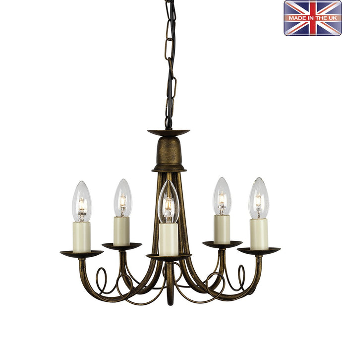 Lambeth Black/Gold 5 Arm Ceiling Light - ID 569