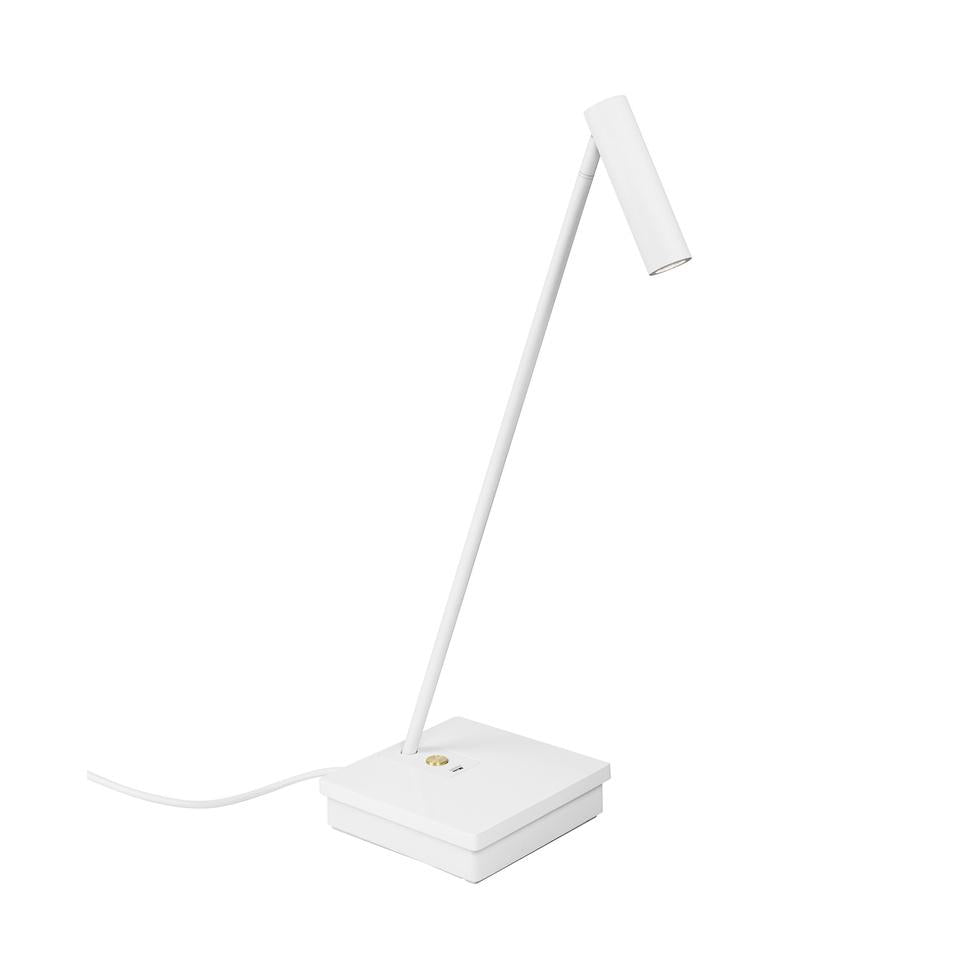 ELA White & Brass Detail Elegant Directional Table Light With USB Device Charge - ID 10741
