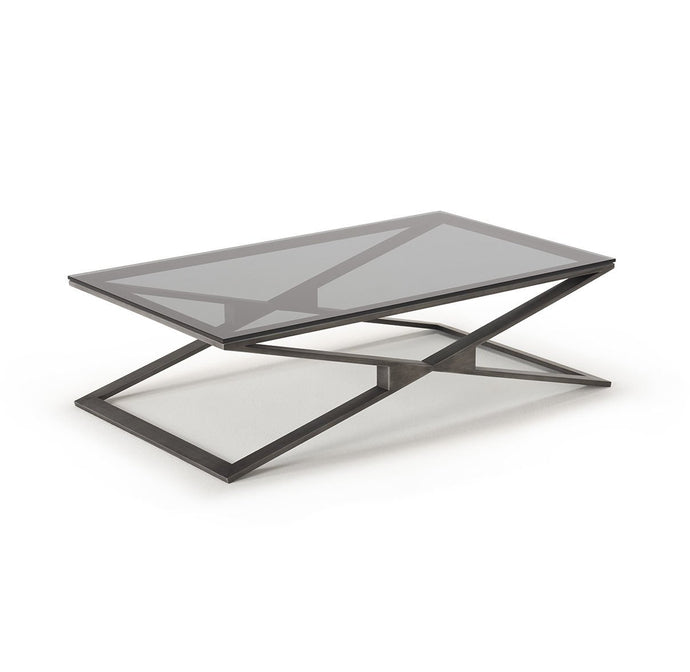 Drew Pewter Coffee Table with Grey Glass - ID 9062