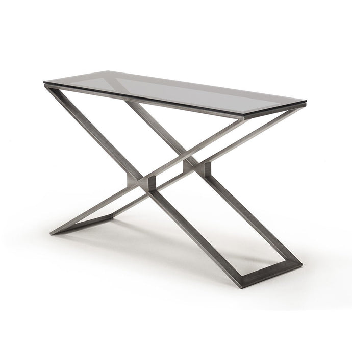 Drew Pewter Console Table with Grey Glass - ID 9065