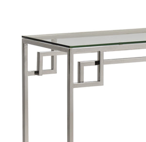 Cen Polished Stainless Steel Console Table with Clear Glass - ID 9067