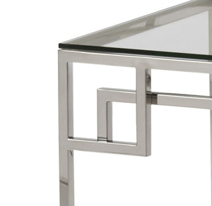 Cen Polished Stainless Steel Lamp Table with Clear Glass - ID 9061