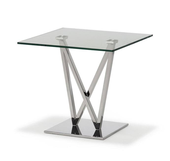 Wen Polished Stainless Steel Lamp Table with Clear Glass - ID 9064