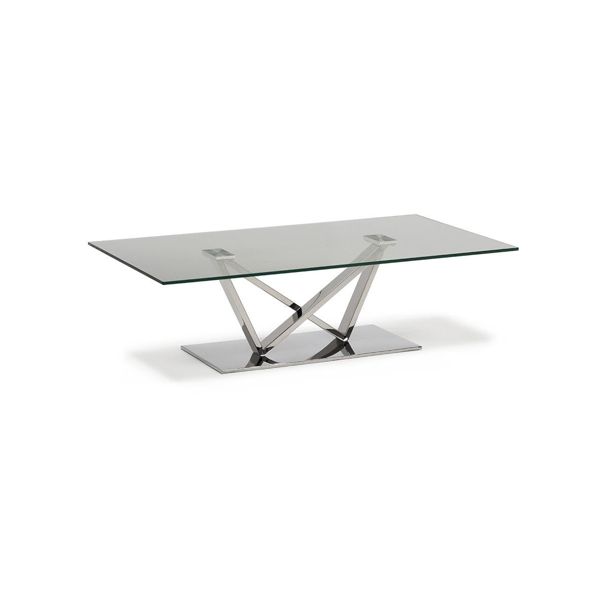 Wen Polished Stainless Steel Coffee Table with Clear Glass - ID 9068