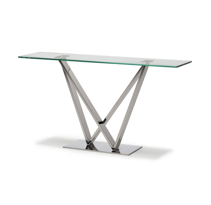 Wen Polished Stainless Steel Console Table with Clear Glass - ID 9069