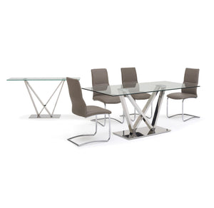 Wen Polished Stainless Steel Dining Table with Clear Glass - ID 9070