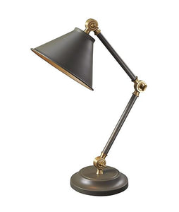 Dark Grey and Aged Brass Mini Table Lamp