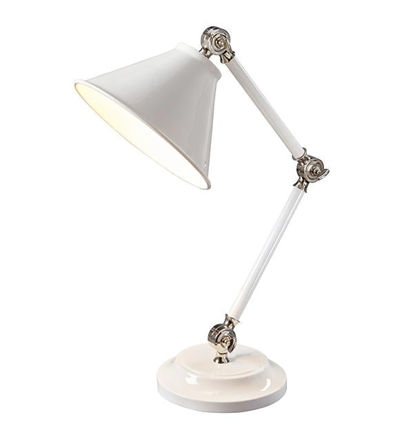 Provence One Light White/Polished Nickel Element Mini Table Lamp