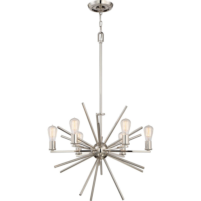 Six Light Silver Chandelier