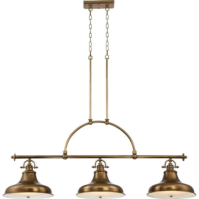 Emery Three Light Weathered Brass Island Chandelier