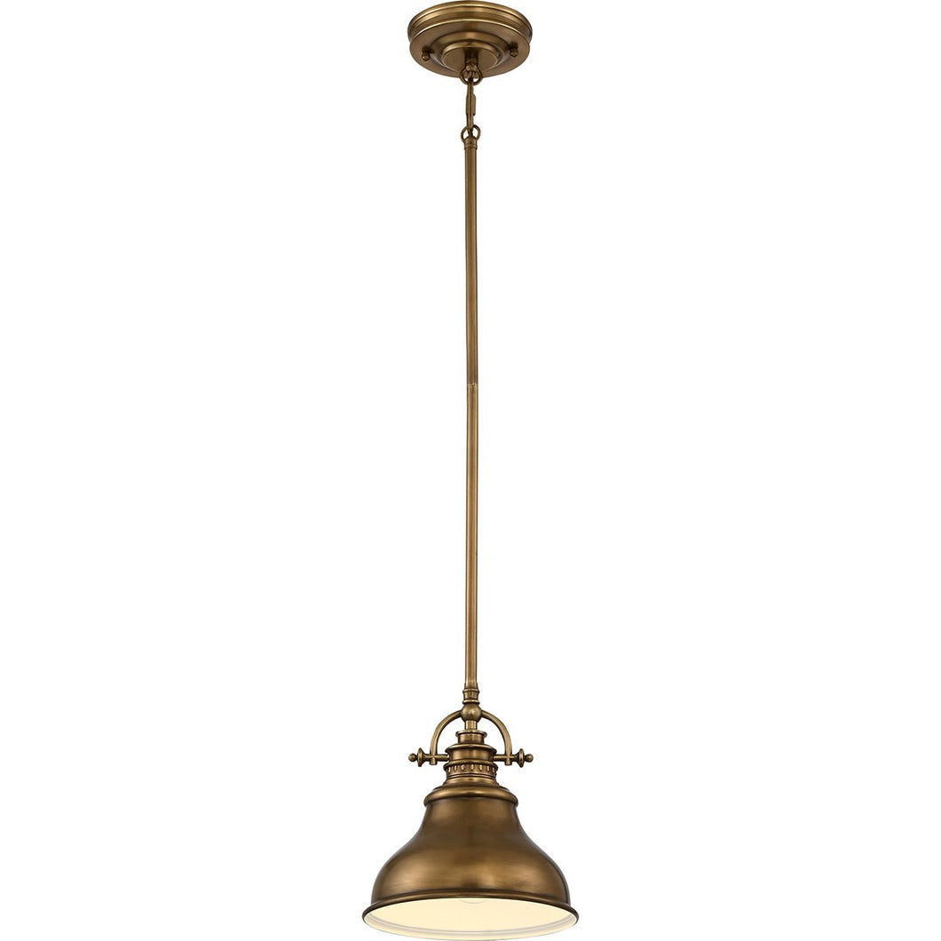 Single Weathered Brass Mini Pendant Light