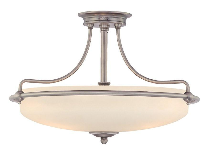 Griffin Large Semi-Flush Light in Antique Nickel - London Lighting - 1