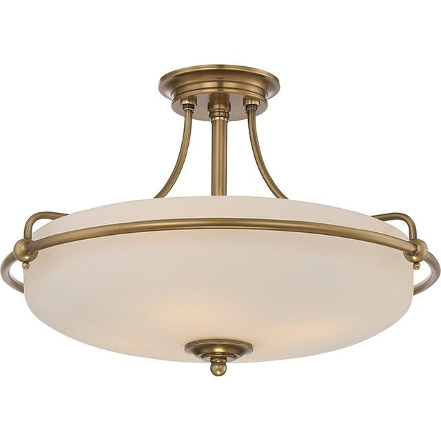 Four Light Weathered Brass Semi-Flush Mount