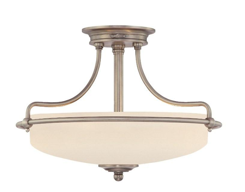 Griffin Small Semi-Flush Light in Antique Nickel - London Lighting - 1