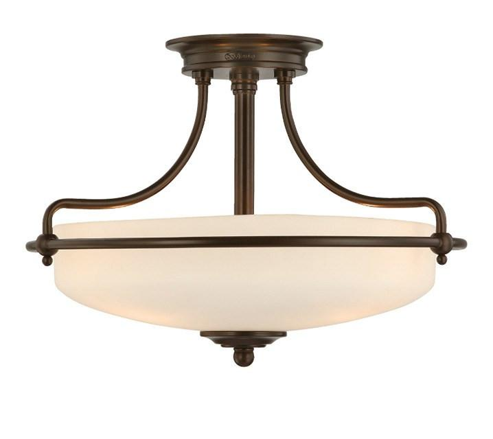 Griffin Small Semi-Flush Light in Bronze - London Lighting - 1