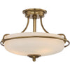 Three Light Weathered Brass Semi-Flush Mount