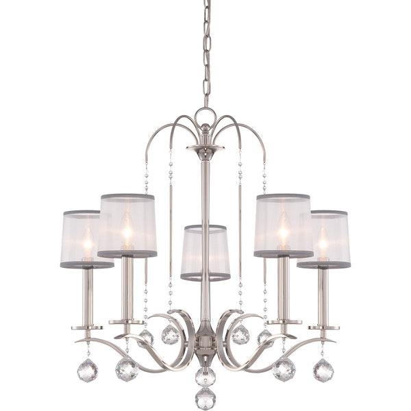 Whitney Five Light Imperial Silver Chandelier