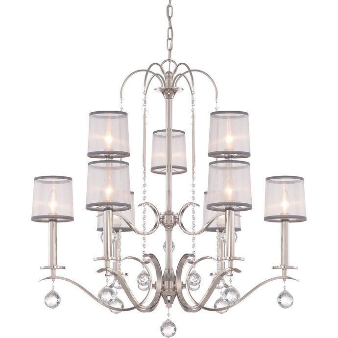 Whitney Nine Light Imperial Silver Two Tier Chandelier