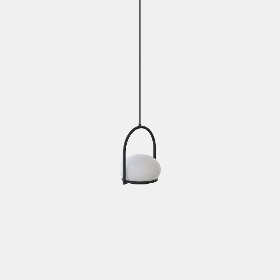 OCO Black Metal With Diffused Pebble Single Pendant - ID 10722