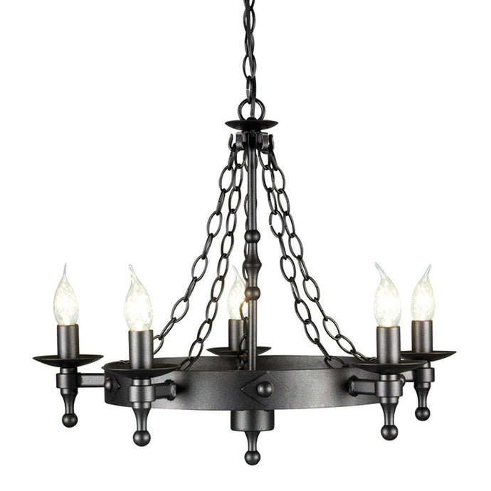 Warwick 5 Light Chandelier Graphite - London Lighting - 1