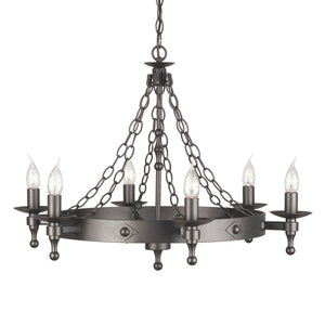 Warwick 6 Light Chandelier Graphite - London Lighting - 1