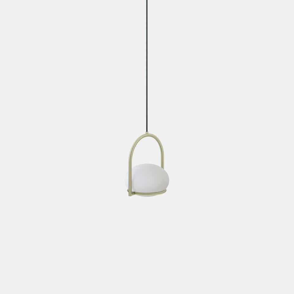 OCO Matt Gold Metal With Diffused Pebble Single Pendant - ID 10723