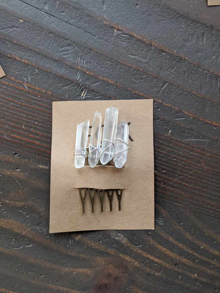 Small Quartz Crystal Hair Comb (Single and Sets Available)