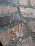 Sunrise / Sunset Necklaces - Agate and Mexican Fire Opal