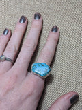 Turquoise Howlite Statement Sterling Silver Ring - Size 5.5