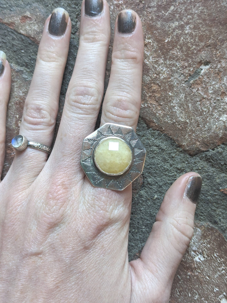 Yellow Topaz Desert Sun Handstamped Sterling Silver Ring - Various Sizes Available