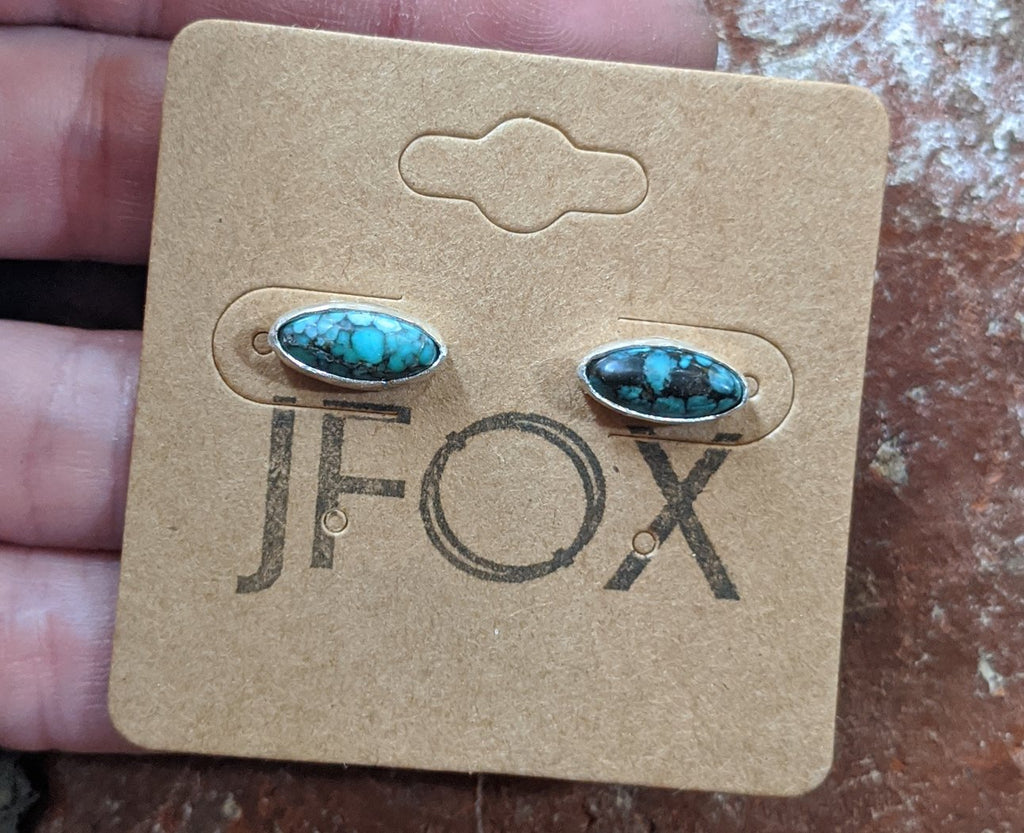Vintage Marquise Cut Turquoise Studs