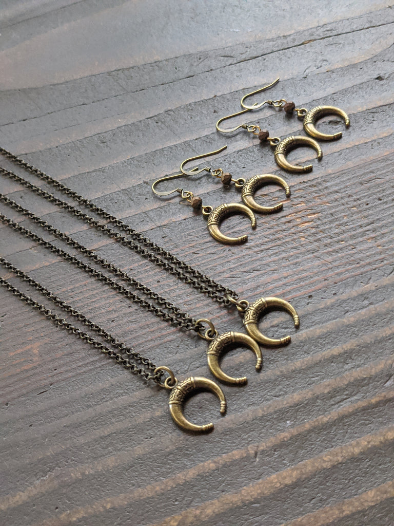 Brass Crescent Moon Necklace and Earrings Gift Set