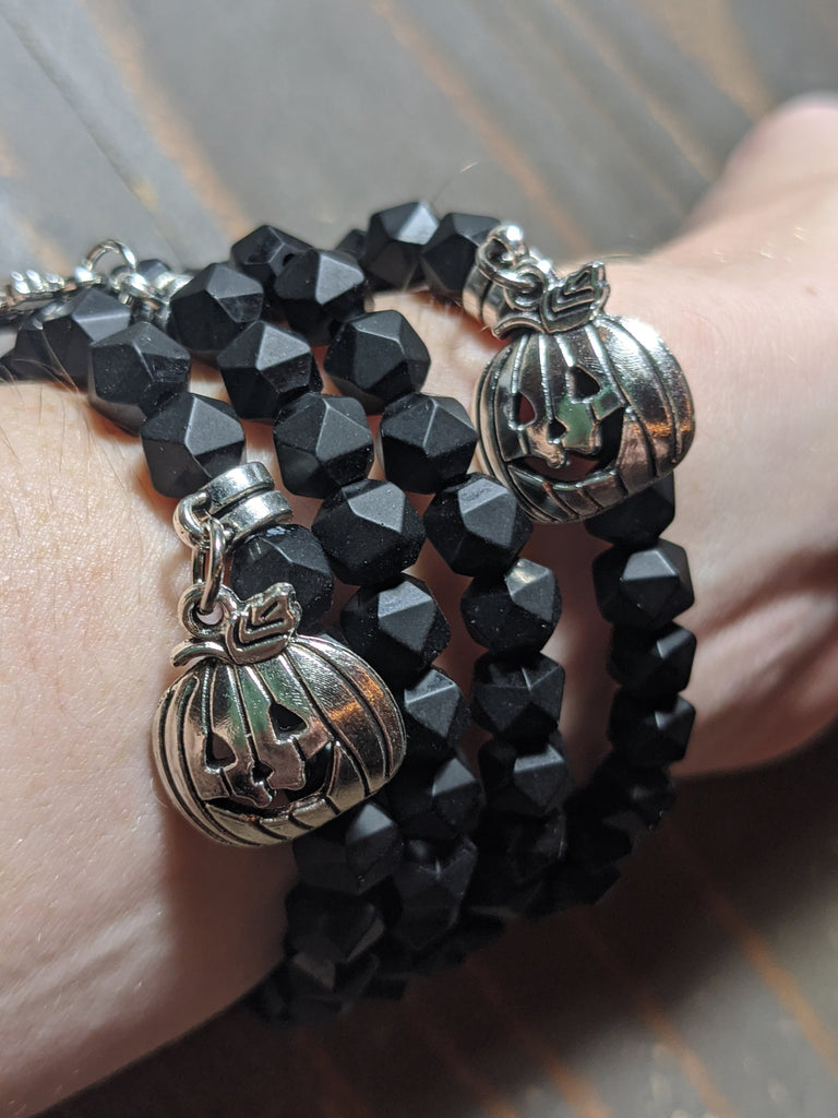 Limited Edition Fall Bracelet! Onyx with Jack o' Lantern Charm