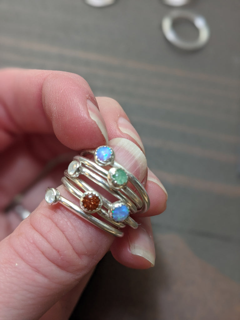 Blue Opal and Sterling Silver Ring (Various sizes available)