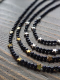 Blue Goldstone and Silver Hematite Star Short Statement Necklace