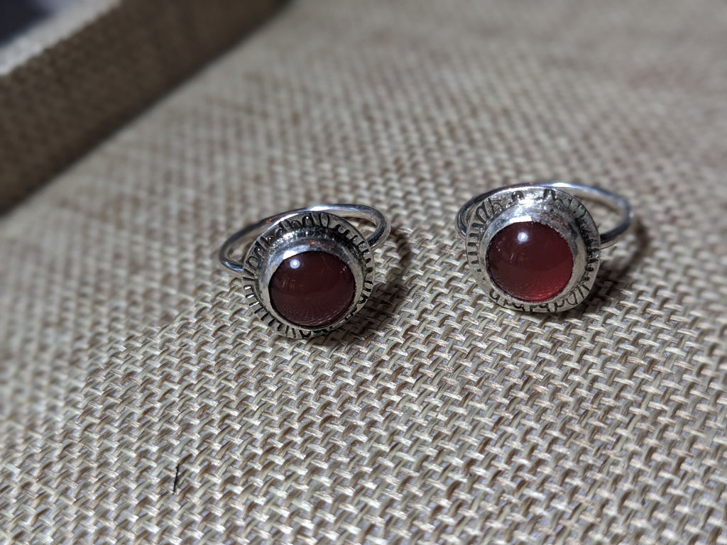 Carnelian Handstamped Sterling Silver Ring - Various Sizes Available