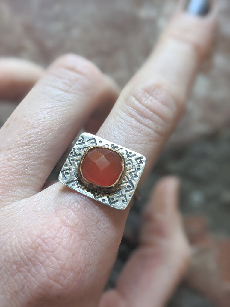 Red Onyx Sterling and 14K Gold Ring - Size 5 & 7 Only
