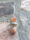 Agate and Tigers Eye Handstamped Sterling Silver Ring - size 6