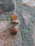 Agate and Tigers Eye Handstamped Sterling Silver Ring - Various Sizes Available