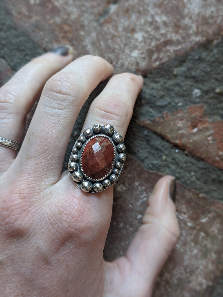 Red Jasper Checker Cut Embellished Sterling Silver Ring - Various Sizes available