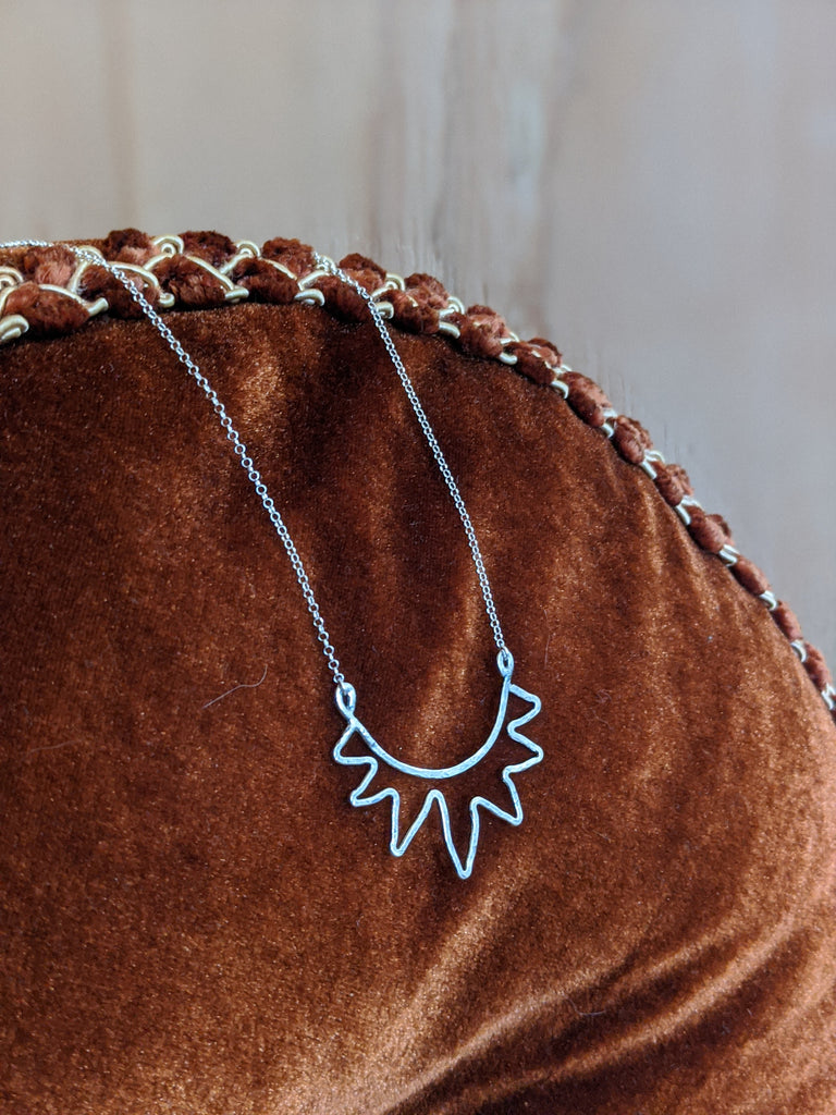 Sterling Silver Hammered Sun Necklace