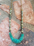 Turquoise Howlite and Stone necklace on brass chain