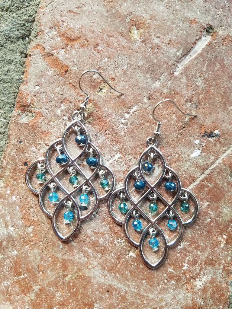 Blue Ombre Chandelier Earrings