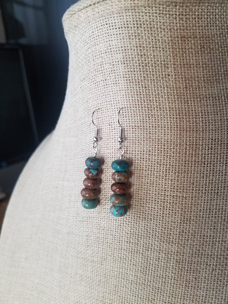 Crazy Blue Lace Agate Drop Earrings (Various Metals Available)