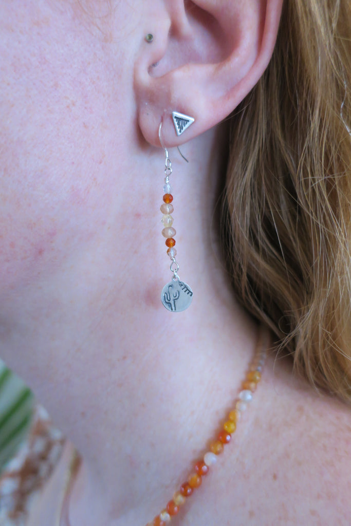 Orange Agate Handstamped Cactus and Sun Charm Drop Earrings