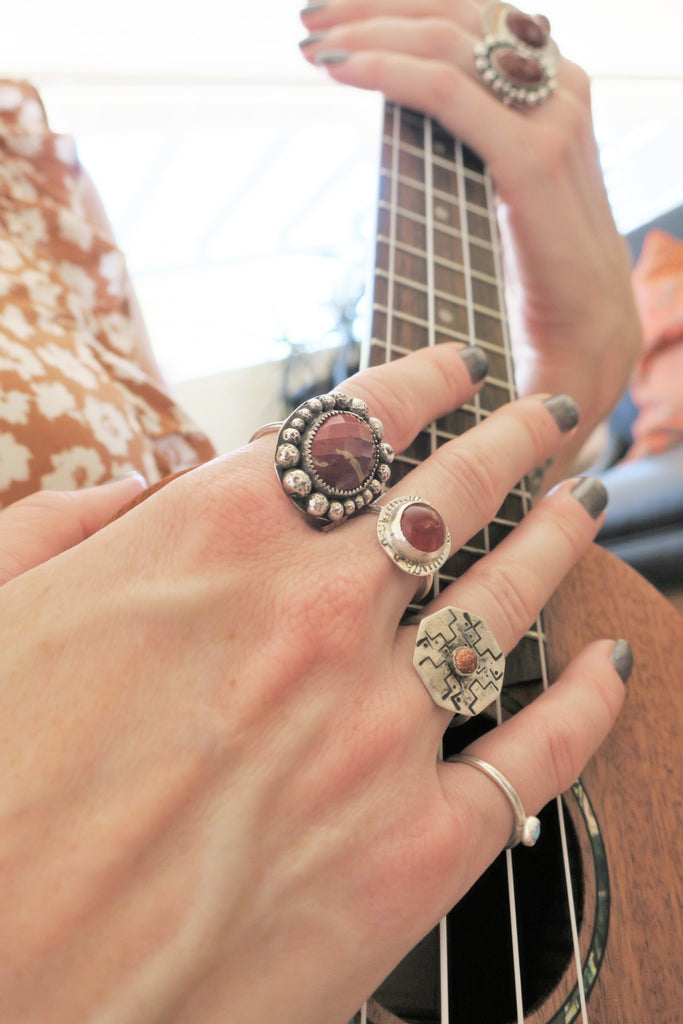 Red Goldstone Octagon Handstamped Sterling Silver Ring - Various Sizes Available