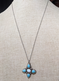 Turquoise and Opal Flower Pendant on Silver