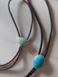 Light Blue Amazonite Brown Leather Bolo Tie