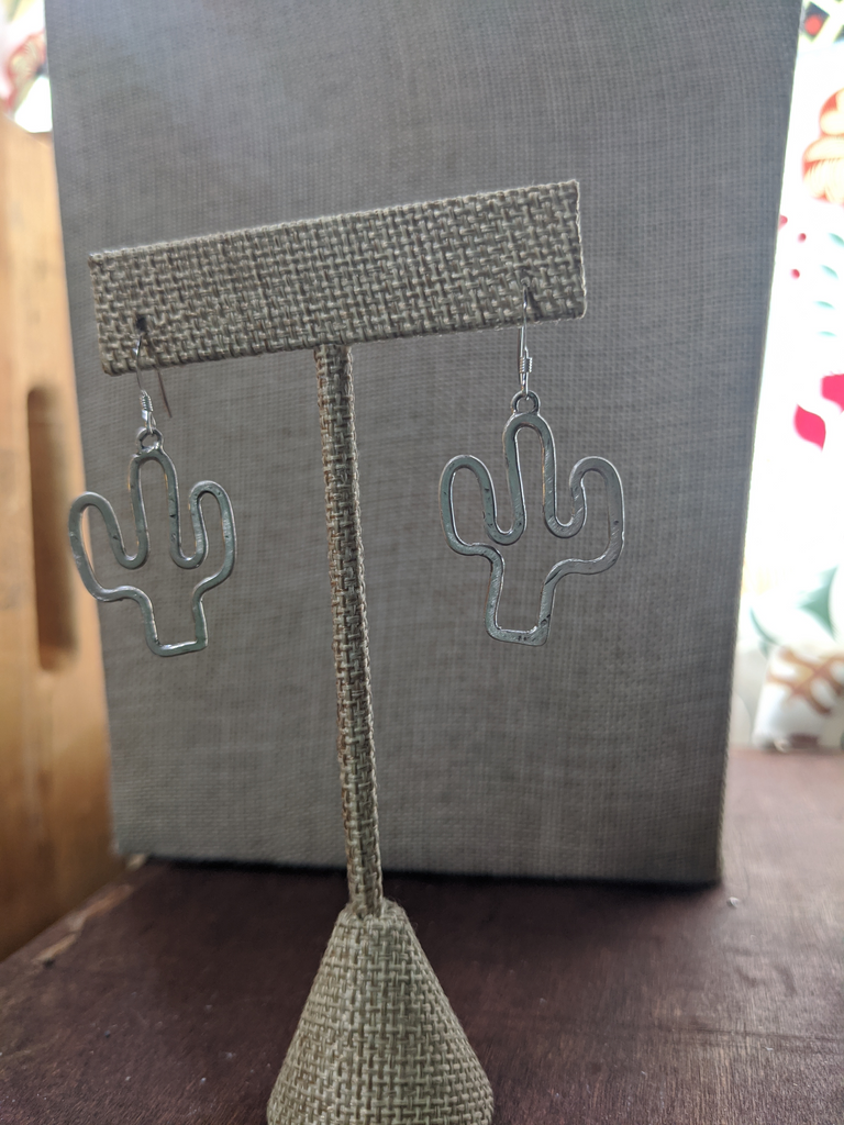 Hammered Sterling Silver Cactus Silhouette Earrings